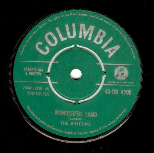 THE SHADOWS Wonderful Land Vinyl Record 7 Inch Columbia 1962